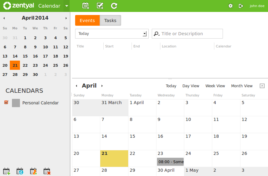 Shared calendars and events
