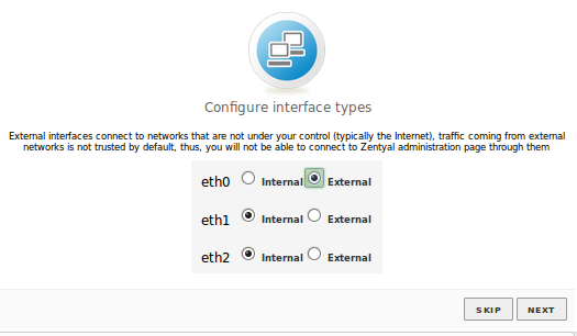 Configuration of network interfaces