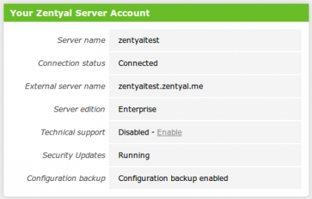 Your Zentyal server account Widget