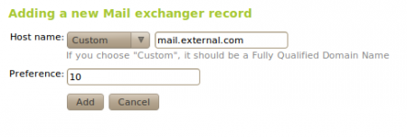 Adding a new mail exchanger