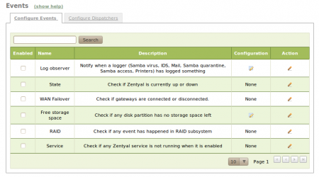 Configure events page
