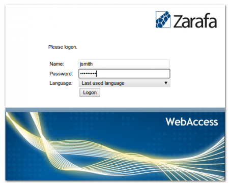 Zarafa login screen