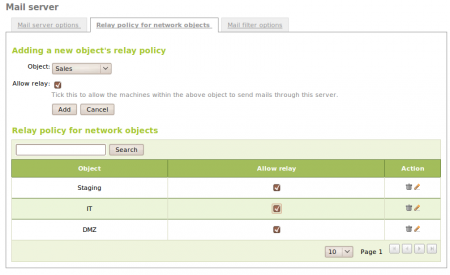 Relay policy for network objects