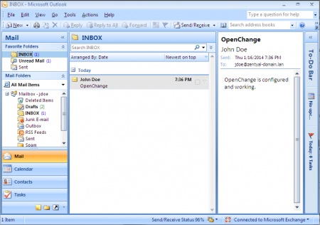 Microsoft® Outlook client configured
