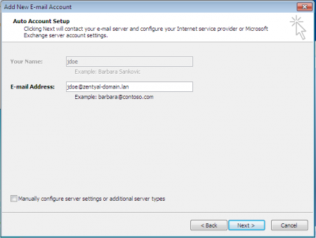 Microsoft® Outlook auto-configuring user's account